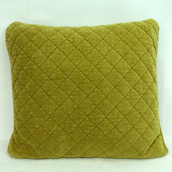 Square Quilted Cotton Cushion Chartreuse