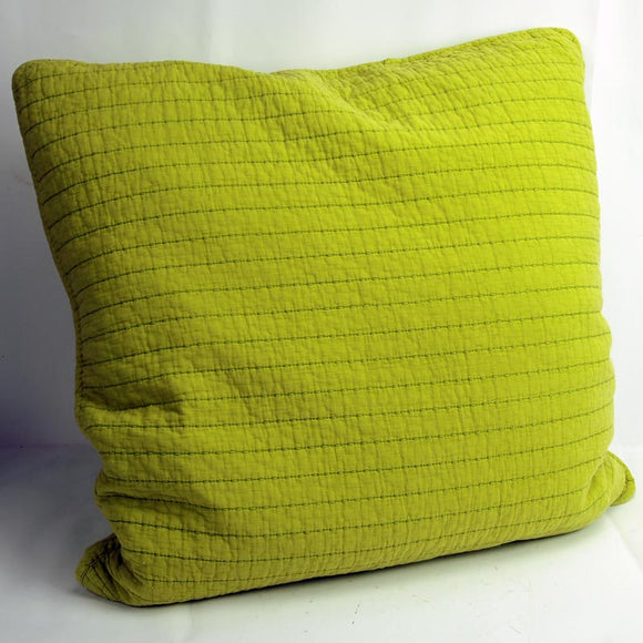 Square Quilted Cotton Bean Stitch Cushion Chartreuse