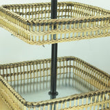 Square Metal & Bamboo 2-Tier Tray