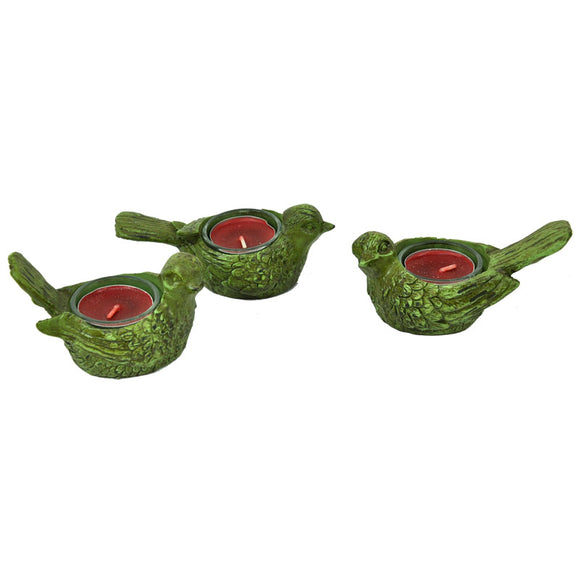 Resin Bird Tealight Holders - Set of 3