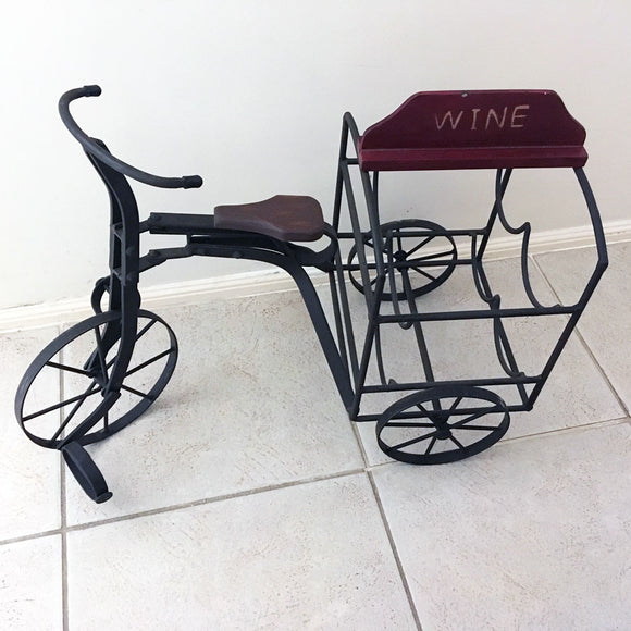 Rustic Metal Tricycle Wine Bottle Holder - SLIGHTLY SCRATCHED