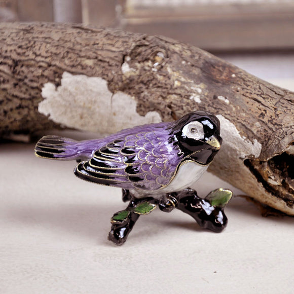 Pewter Bird Jewellery Box - Purple