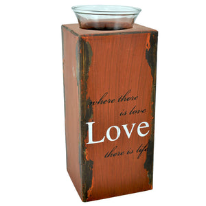 Plywood Tealight Holder with Glass Cup Distressed Large - Love