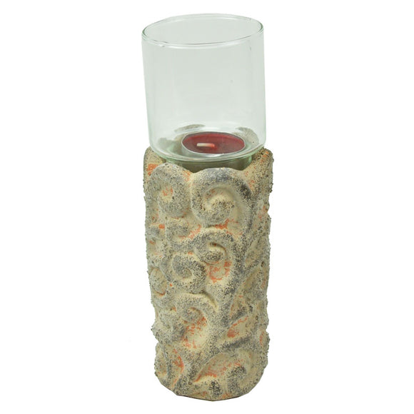 Terra Cotta & Glass Votive Candle Holder