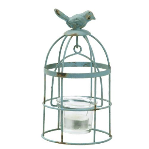Metal Birdcage Tealight Holder with Glass