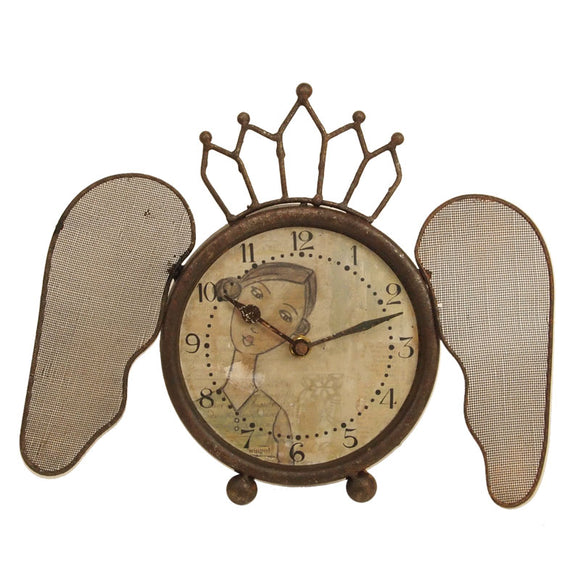 Rustic Iron Clock with Butterfly Wings & Girl Image