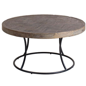 Vera Reclaimed Elm Wooden Round Coffee Table