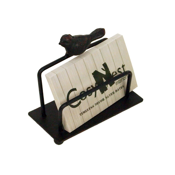 Metal Business Card Holder with Bird