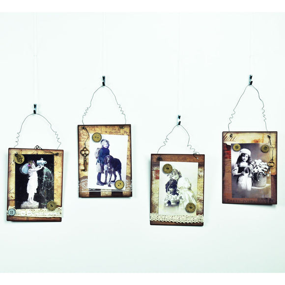 Metal Picture/ Memo Holder Wall Plaques Wall Art - Vintage Retro Style - Set of 4