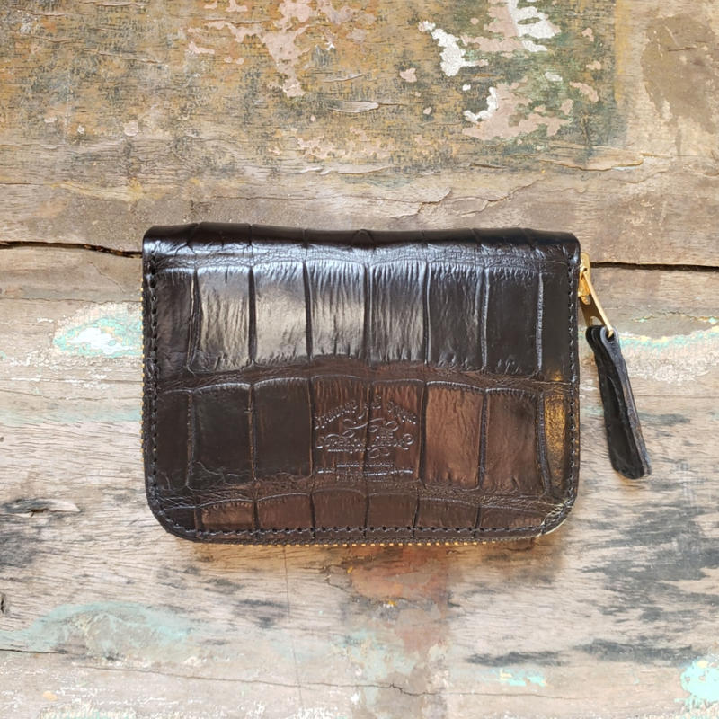 crocodile zip small wallet