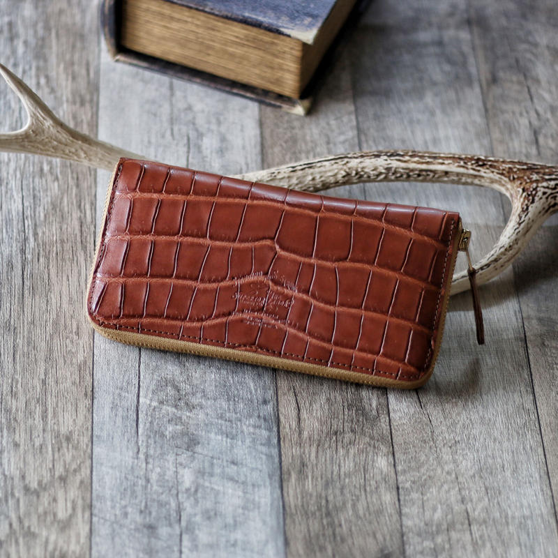crocodile zip long wallet