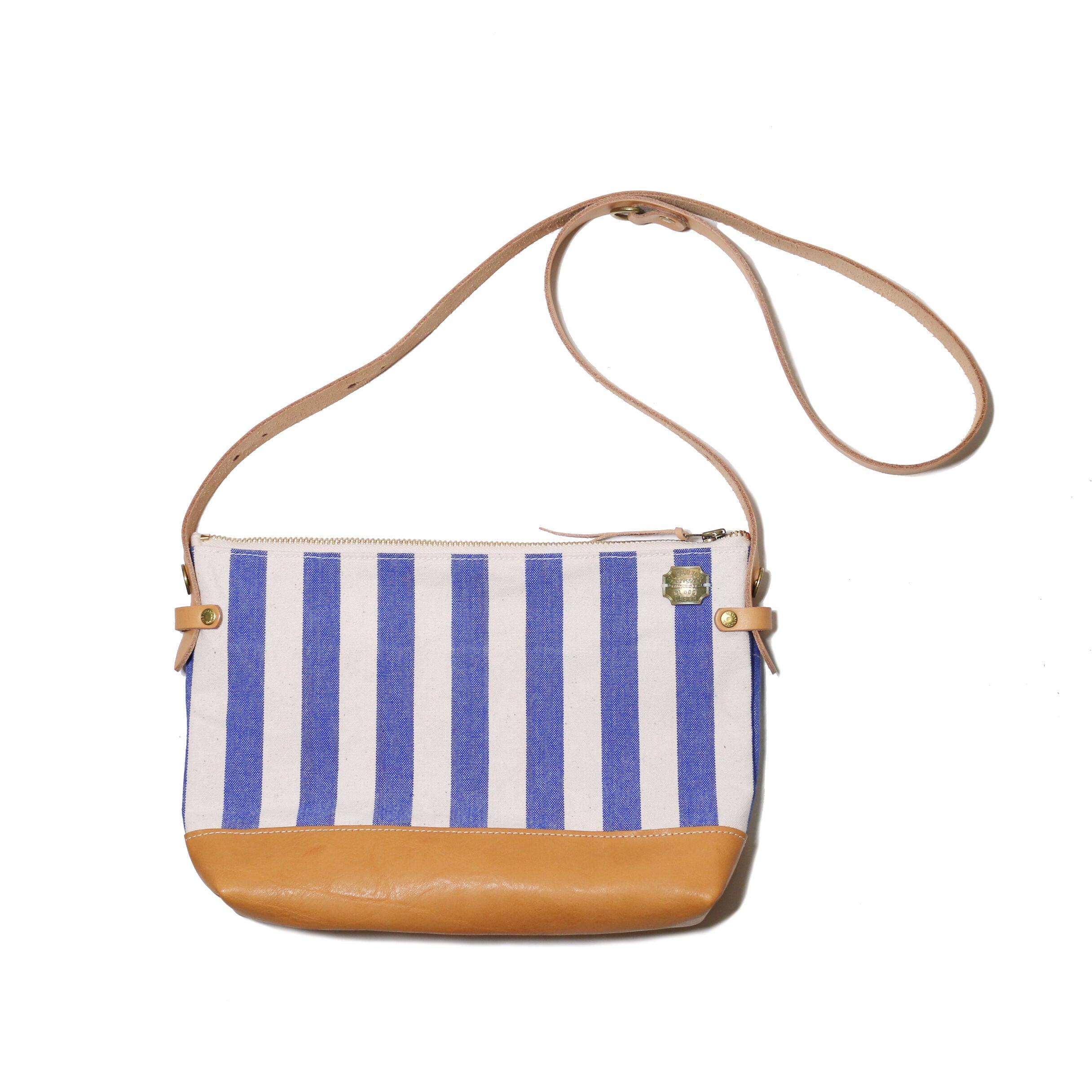 stripe leather bottom shoulder bag L