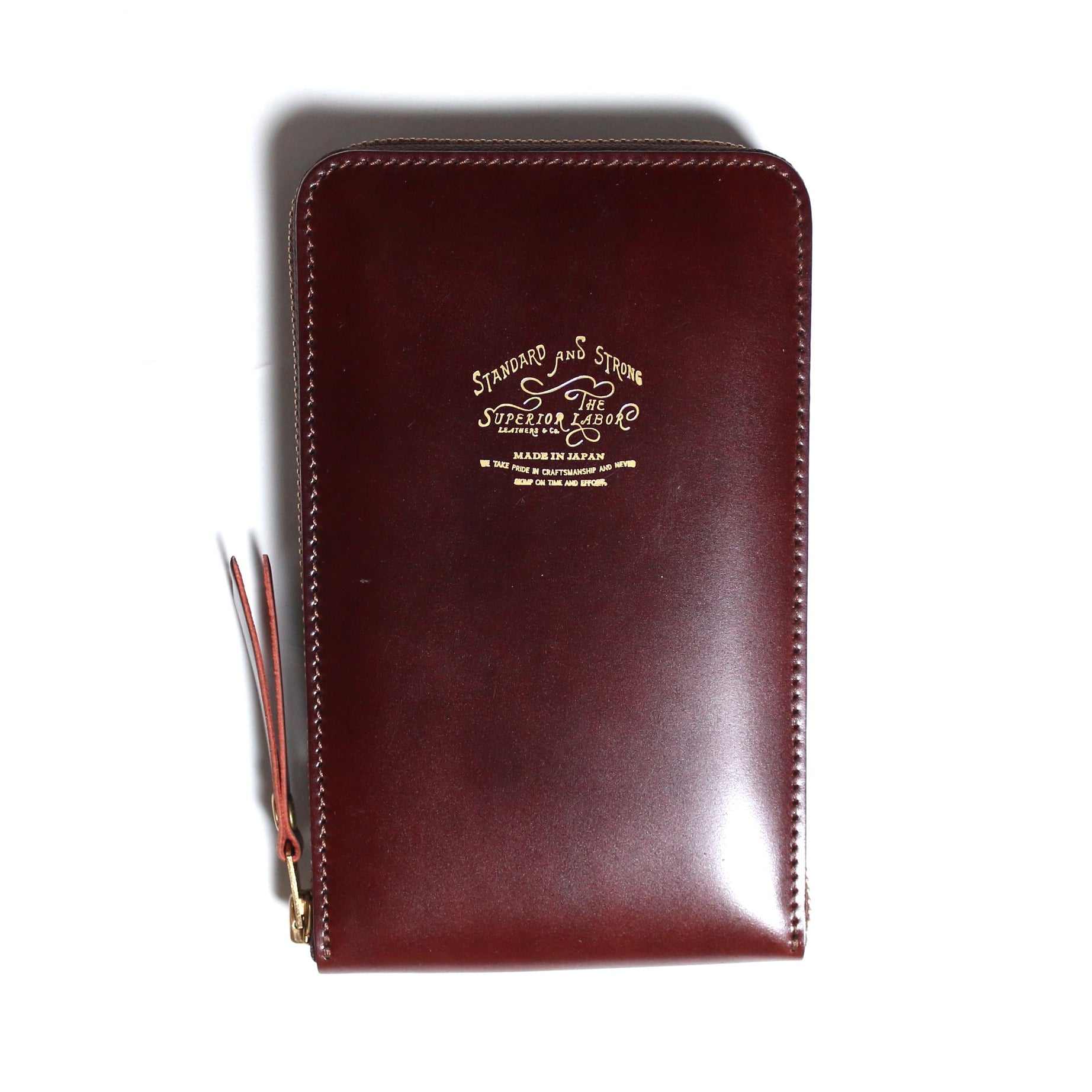 cordovan vertical zip wallet