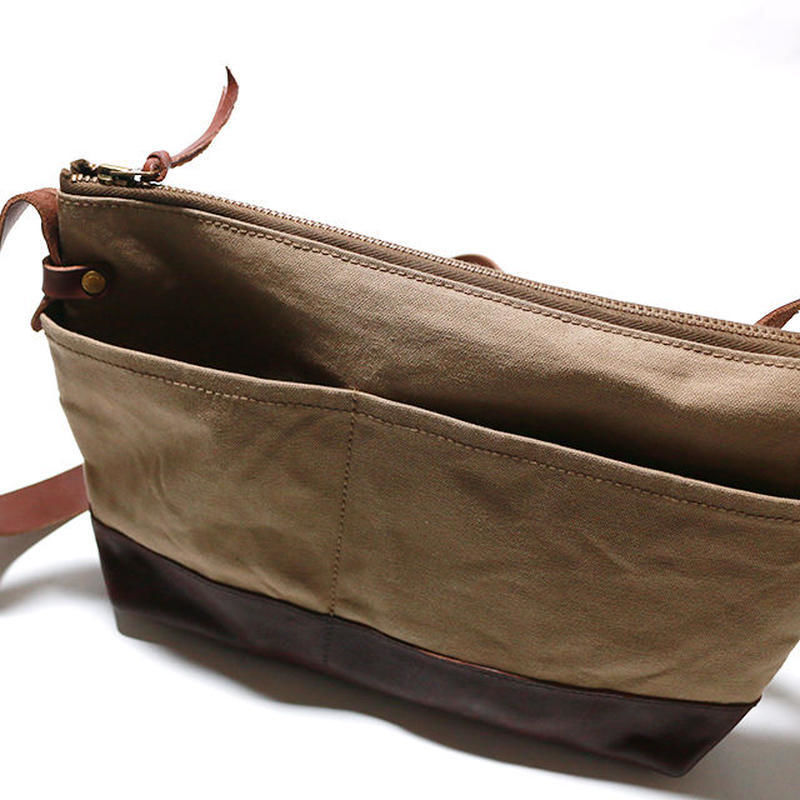 leather bottom shoulder bag S