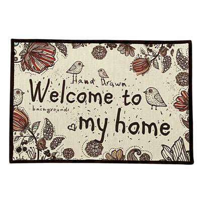 Natural Linen Door Mat Carpet Indoor 40x60cm Japanese Style Anti-Slip Floor Mats Rugs Cartoon Bird Hallway Entrance Doormat