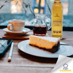 Sugar Goodness Allulose with tea and cheese cake