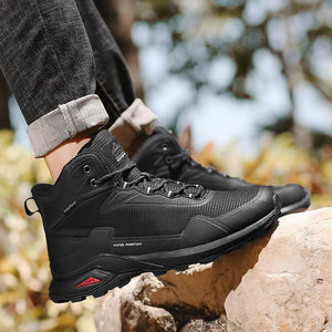 Black Waterproof Leather Plush Outdoor Hiking Boots