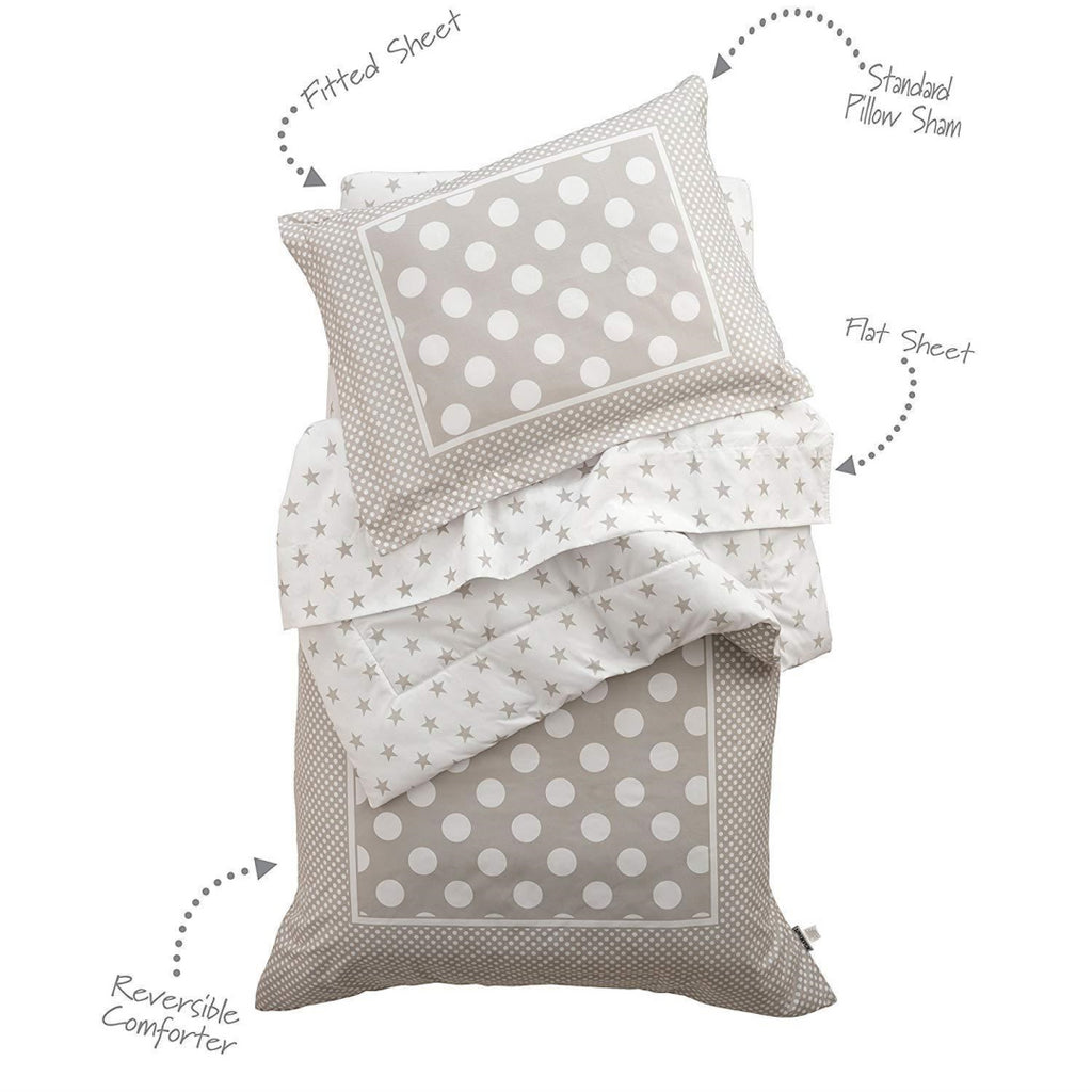 KidKraft Stars & Polka Dots Toddler Bedding-Gray - Maqio