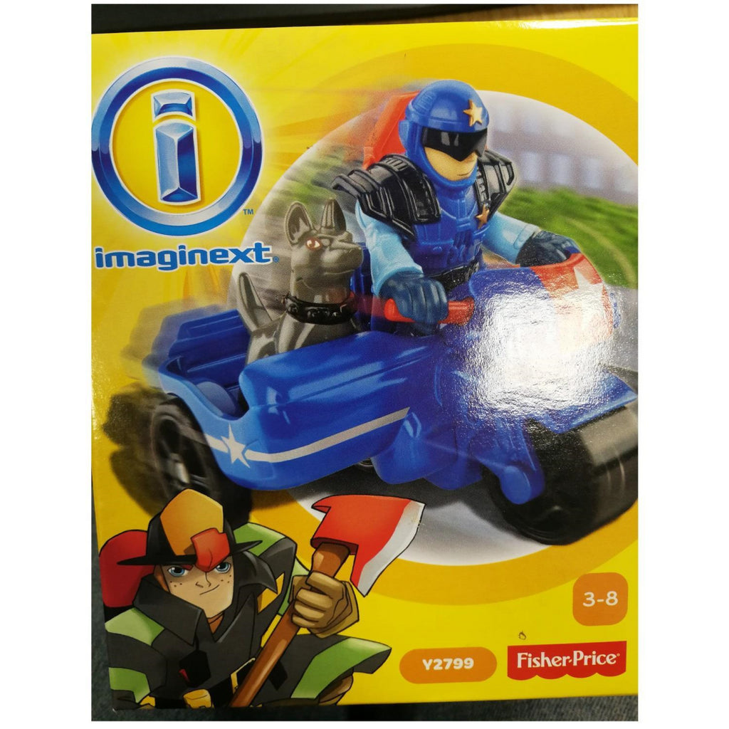 Fisher Price Y2799/X7617 Imaginext City Police Figure with Motorcycle and Dog Pl - Maqio