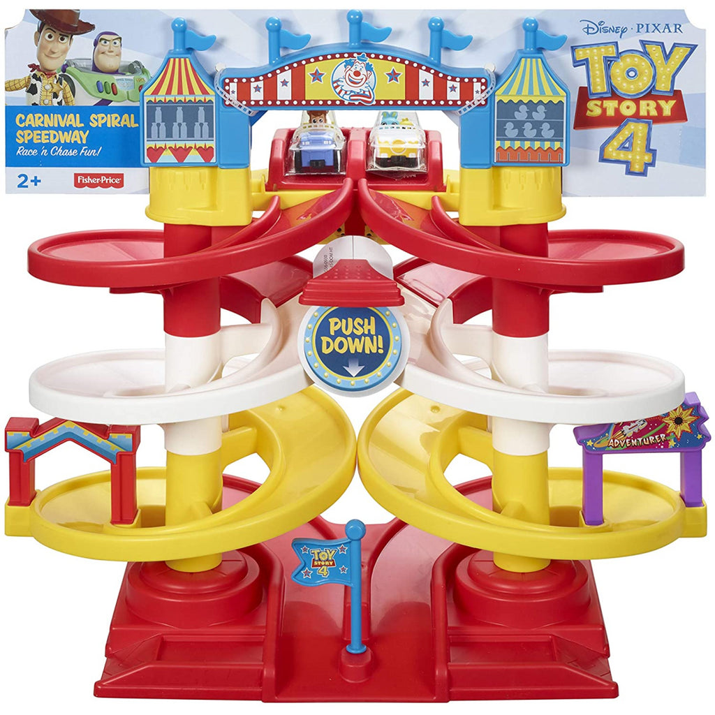 Fisher-Price Disney Pixar Toy Story 4 Carnival Spiral Speedway Playset GFG56 - Maqio