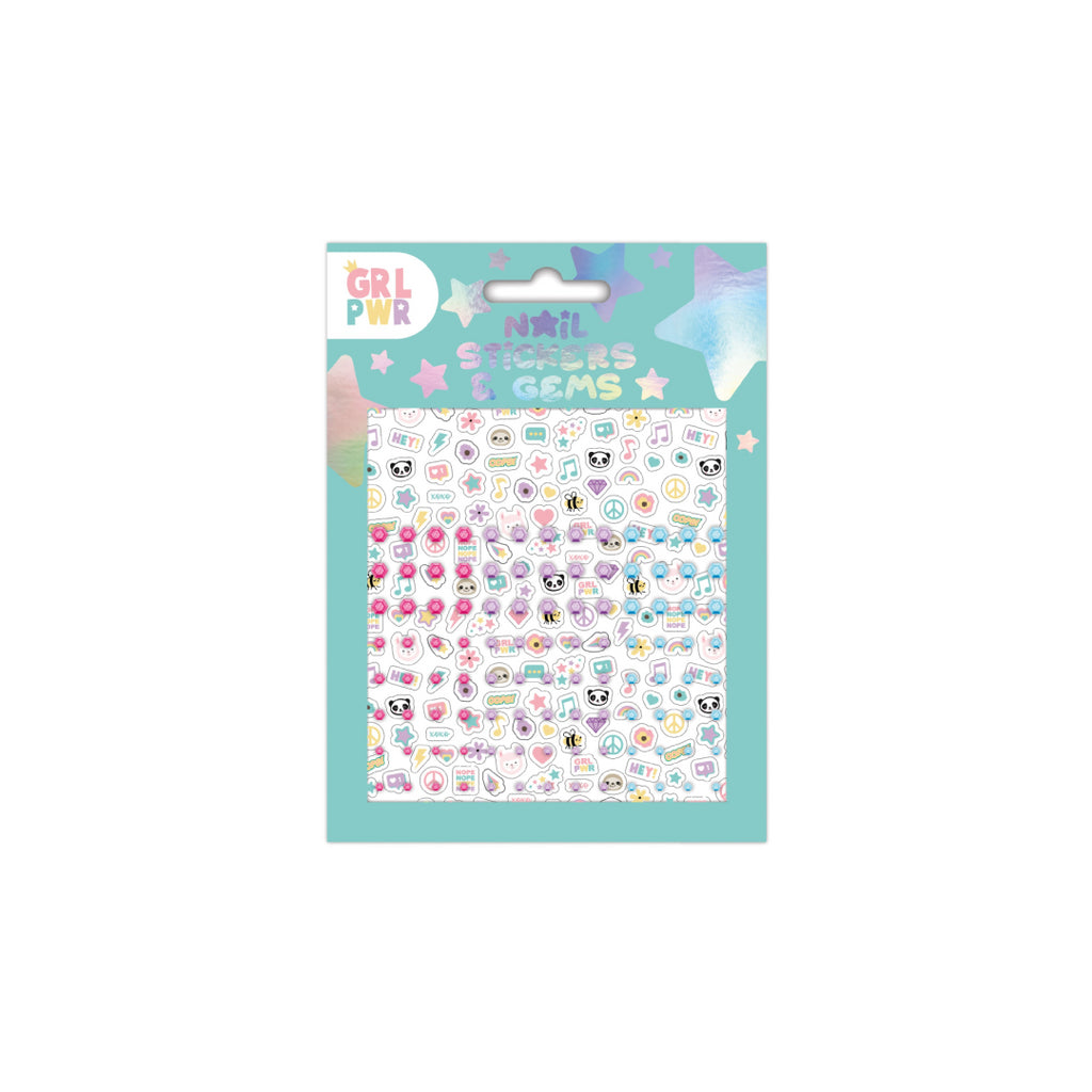 200 Kids Nail Art Self Adhesive Stickers With Gems FN8528 - Maqio