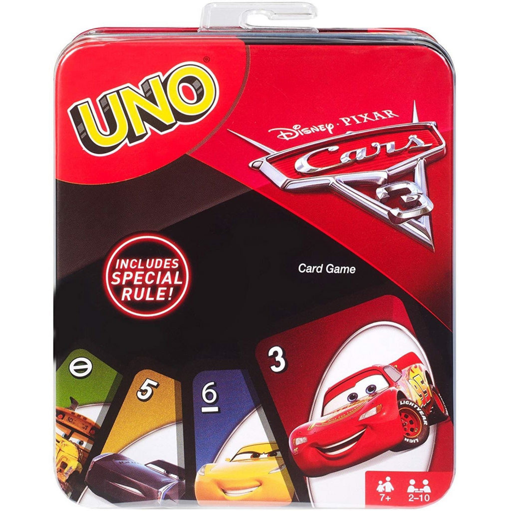 Cars Mattel Disney 3 Uno Card Game Tin FFV18 - Maqio