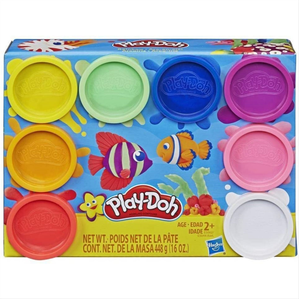 Play-Doh Rainbow Pack of 8 Colours E5062 - Non Toxic - Maqio