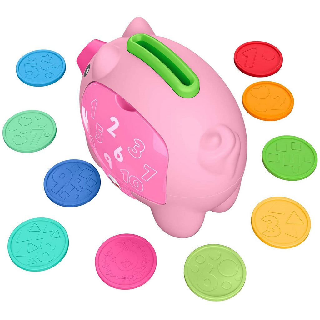 Fisher-Price Laugh & Learn Count & Rumble Piggy Bank Musical Baby Toy GJC68 - Maqio