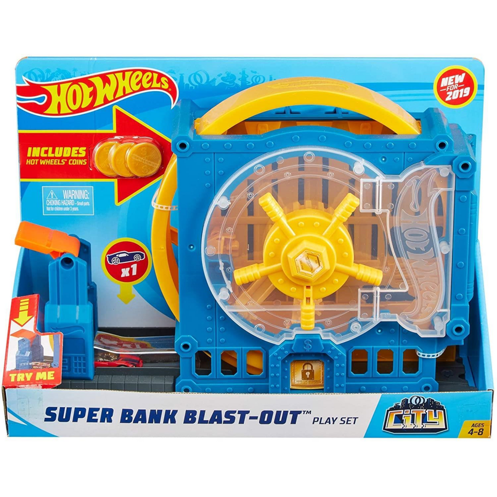 Hot Wheels City Super Play Set Super Bank Blast-Out GBF96 - Maqio