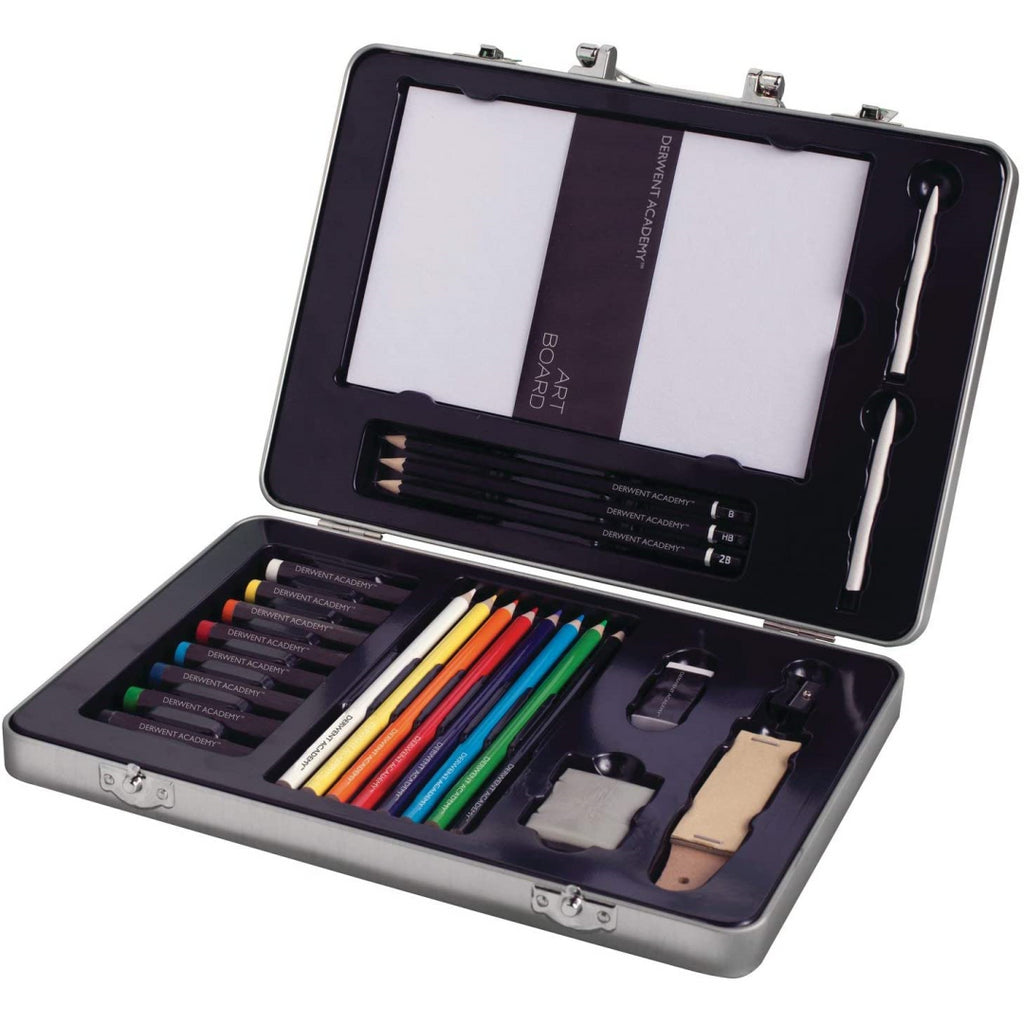 Derwent Academy 28 Piece Drawing Art Kit Set With Case - Maqio