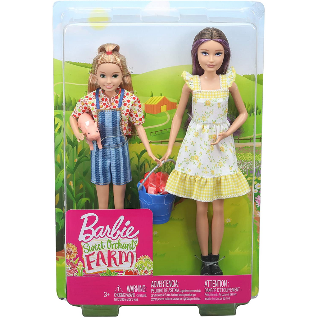 Barbie Sweet Orchard Farm Skipper and Stacie Dolls with Pig and Apples GHT16 - Maqio