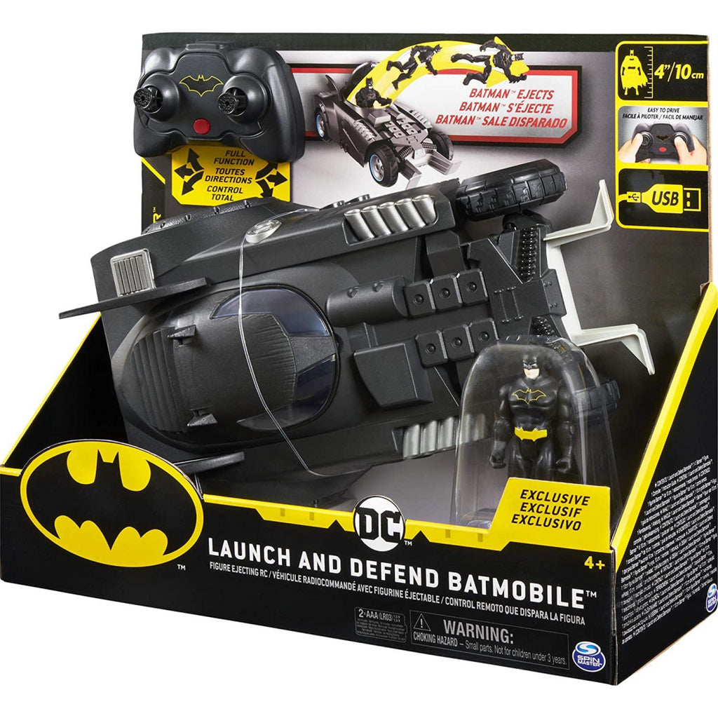 BATMAN 6055747 Launch and Defend Batmobile Remote Control Vehicle with Exclusive 10 cm Action Figure - Maqio