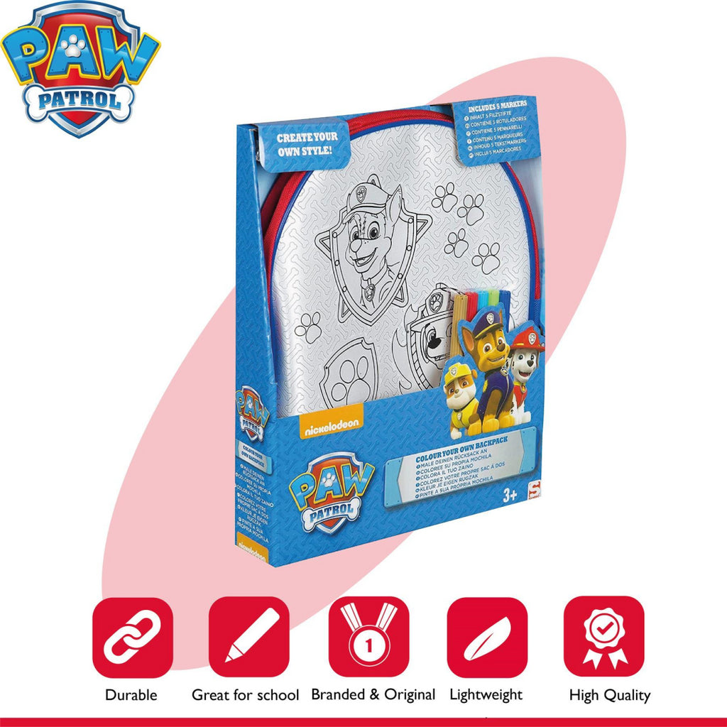 Paw Patrol Colour Your Own Backpack School Kids - Maqio