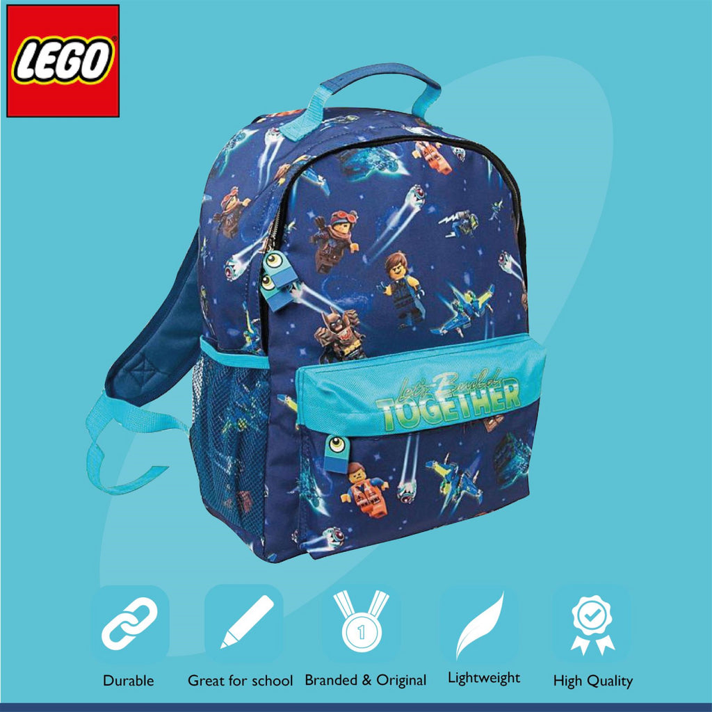 Lego Movie 2 Blue Let's Build Together Character Backpack - Maqio