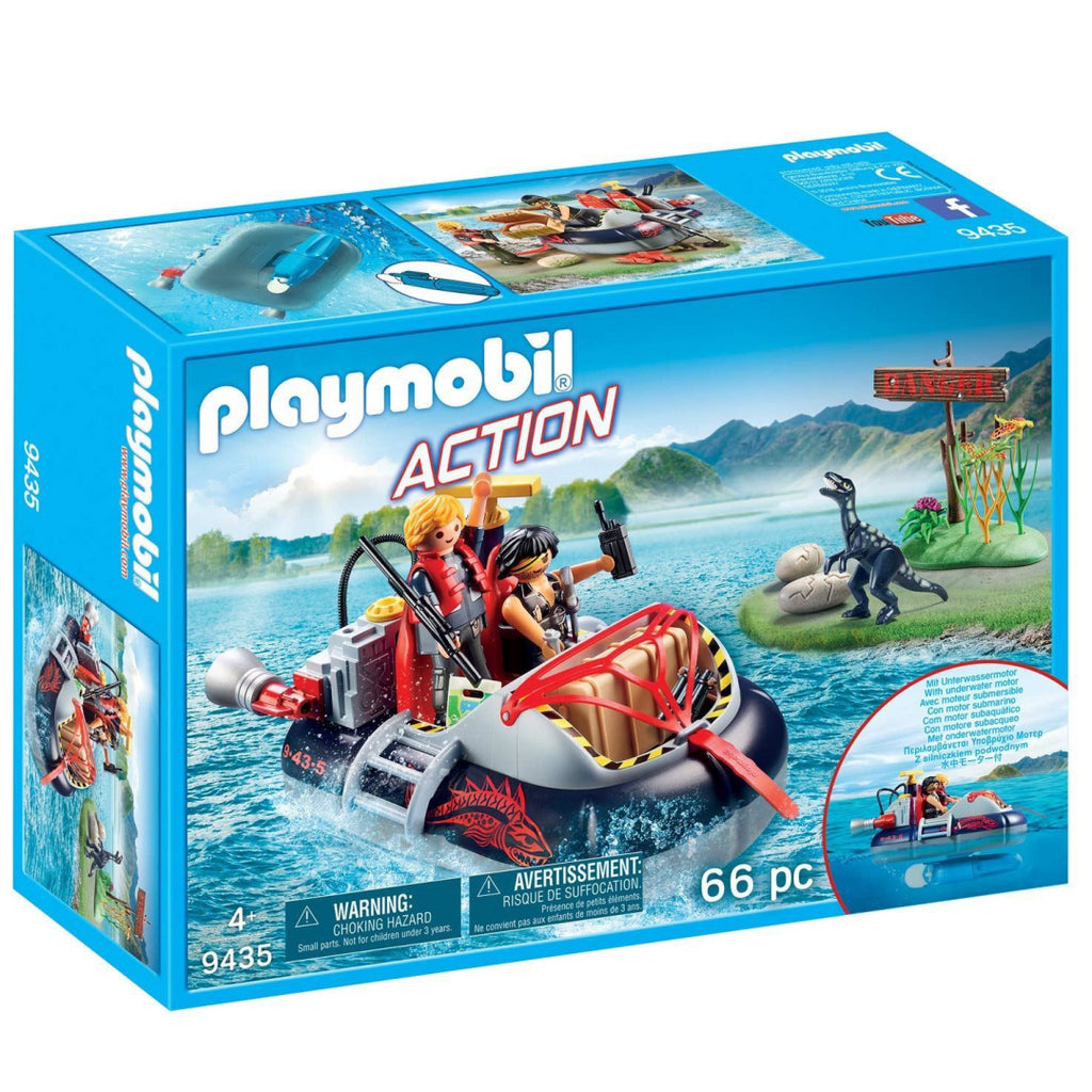 Playmobil 9435 Action Dino Hovercraft with Underwater Motor Set - Maqio