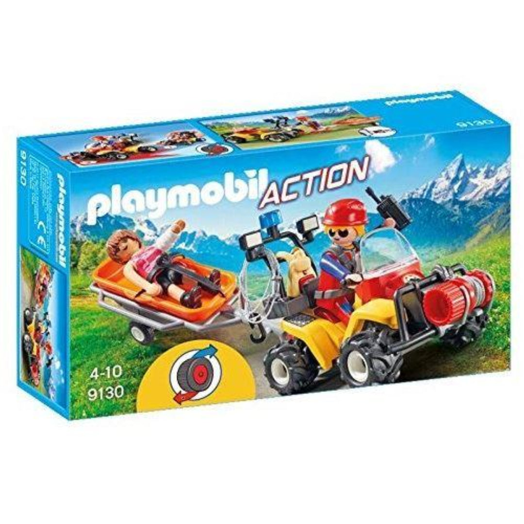 Playmobil 9130 Mountain Rescue Quad with Pullback Motor and Working Winch
