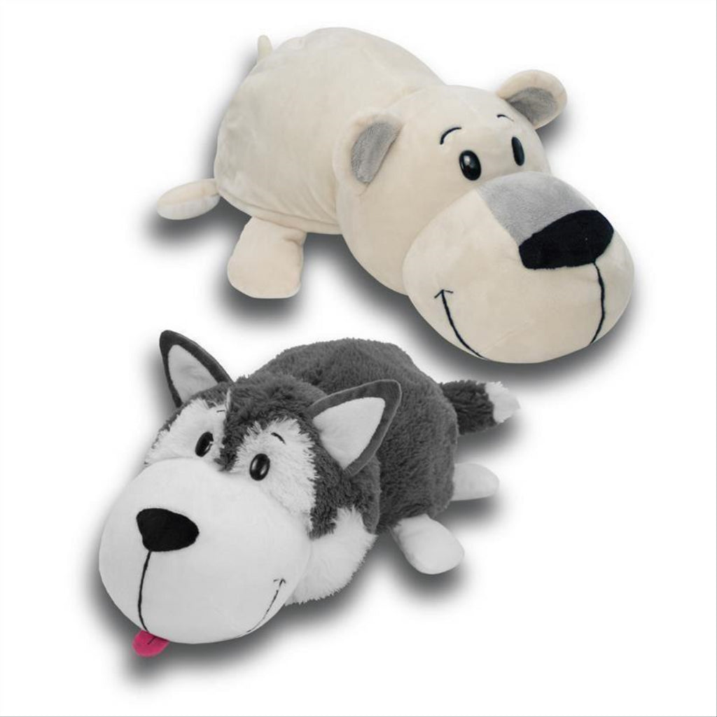 Flip a Zoo Asher Husky & Poppi Polar Bear 2 in 1 Soft Plush Toy 020420 - Maqio