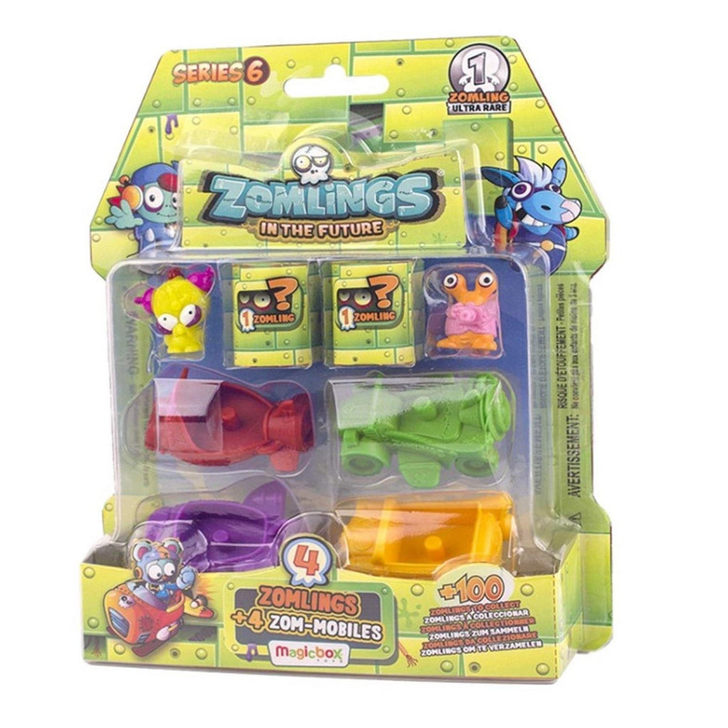 Zomlings In the Future - Series 6 Toy ZM6P0600 - 4 Zomblings & 4 Zom-Mobiles Bli - Maqio