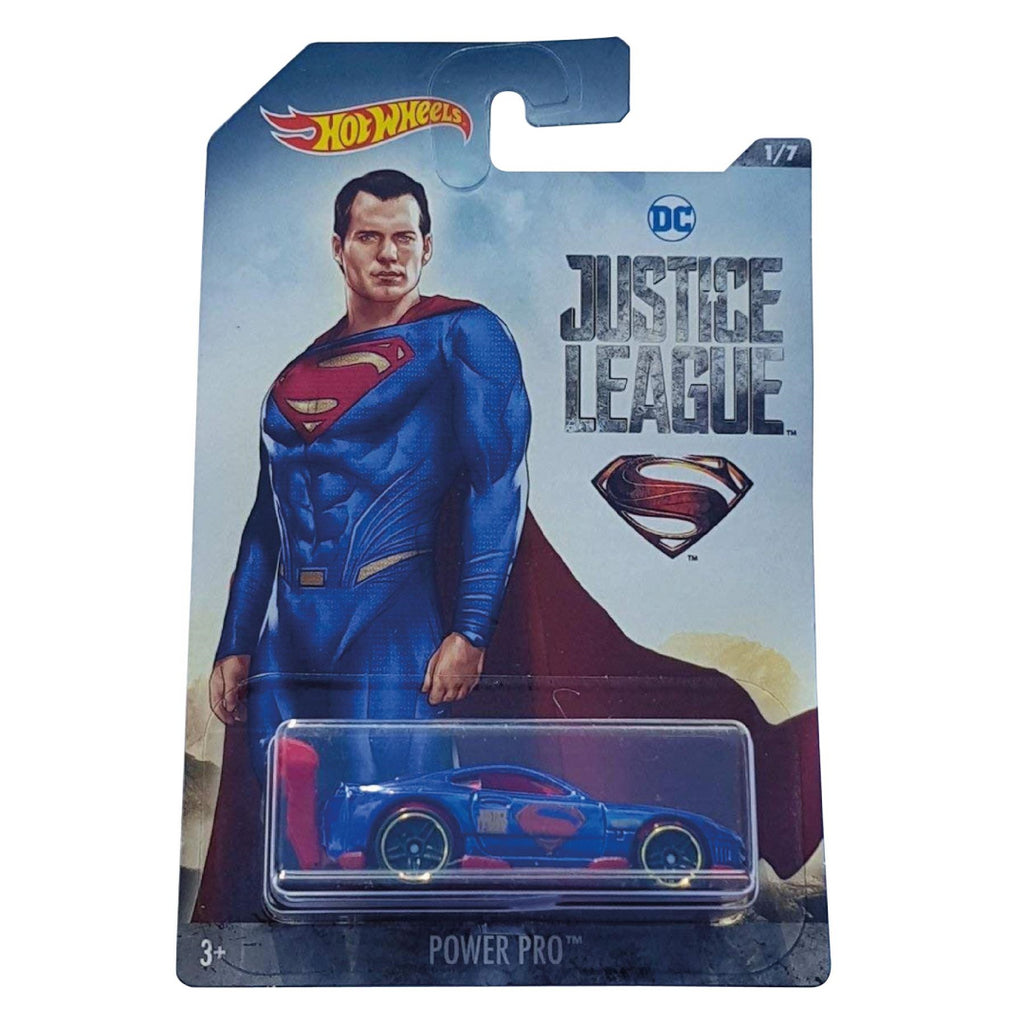 SUPERMAN POWER PRO CAR JUSTICE LEAGUE 1:64 HOTWHEELS DIECAST - Maqio