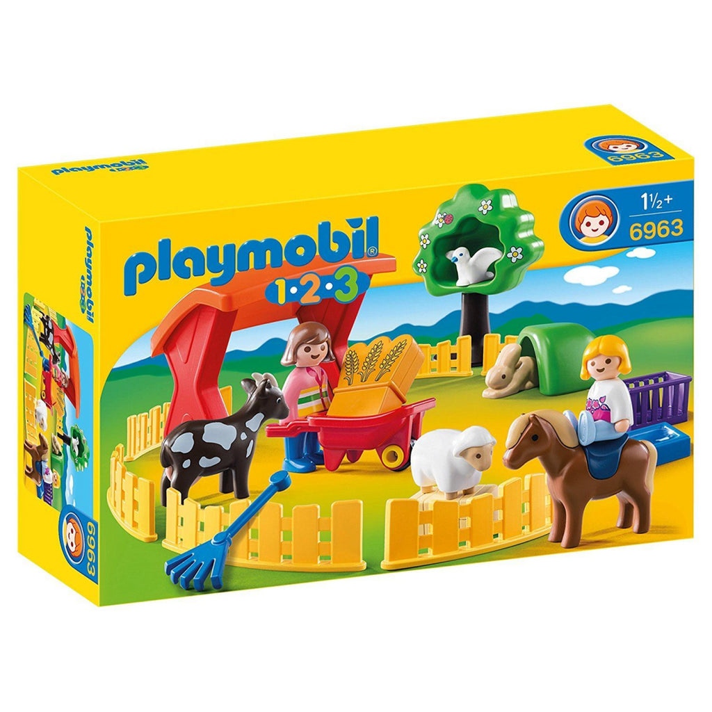 Playmobil 6963 1.2.3 Petting Zoo with Many Animals Construction Playset - Maqio