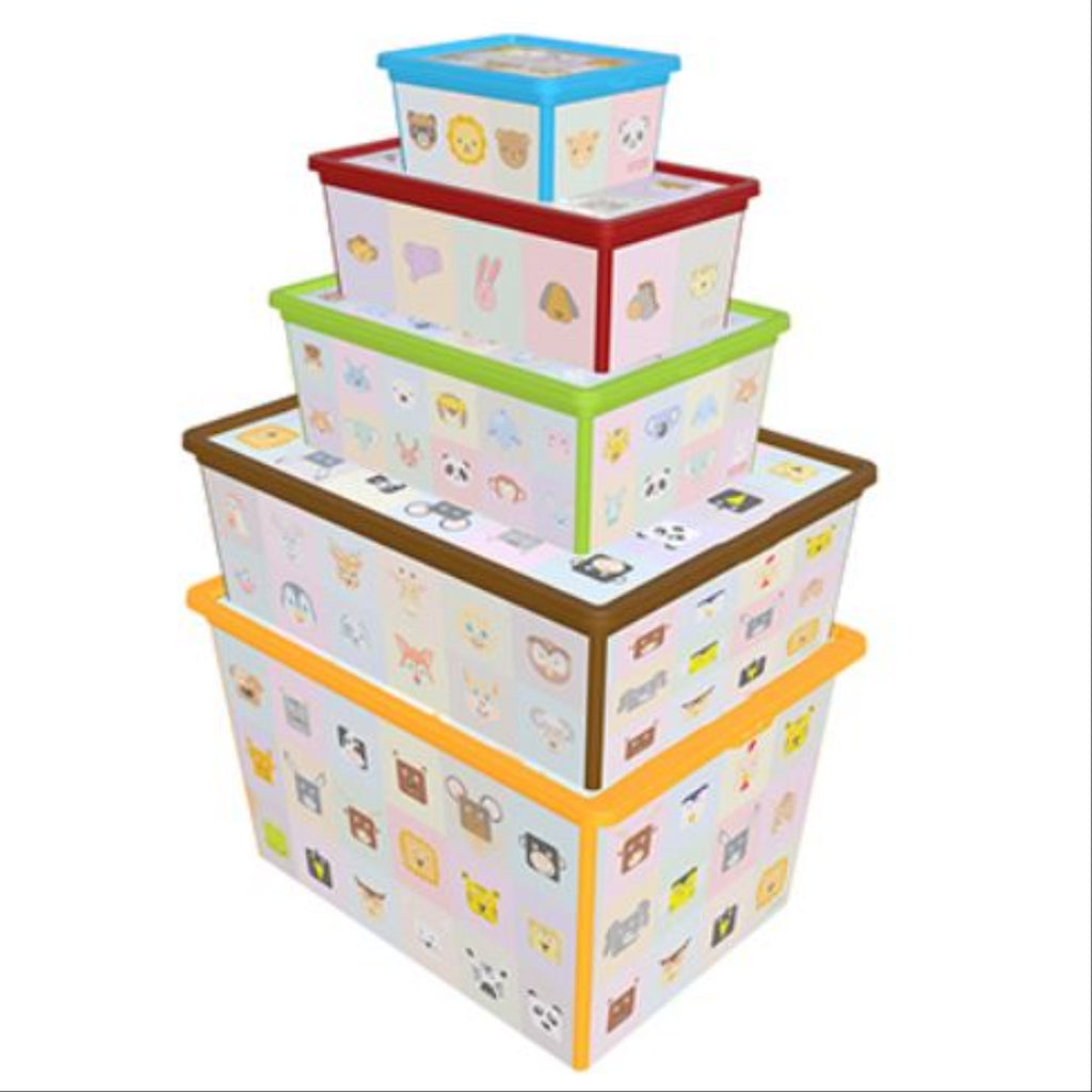 Maqio Decorative IML Print Coloured Looking Learning Set of 5 Trend Boxes - Maqio