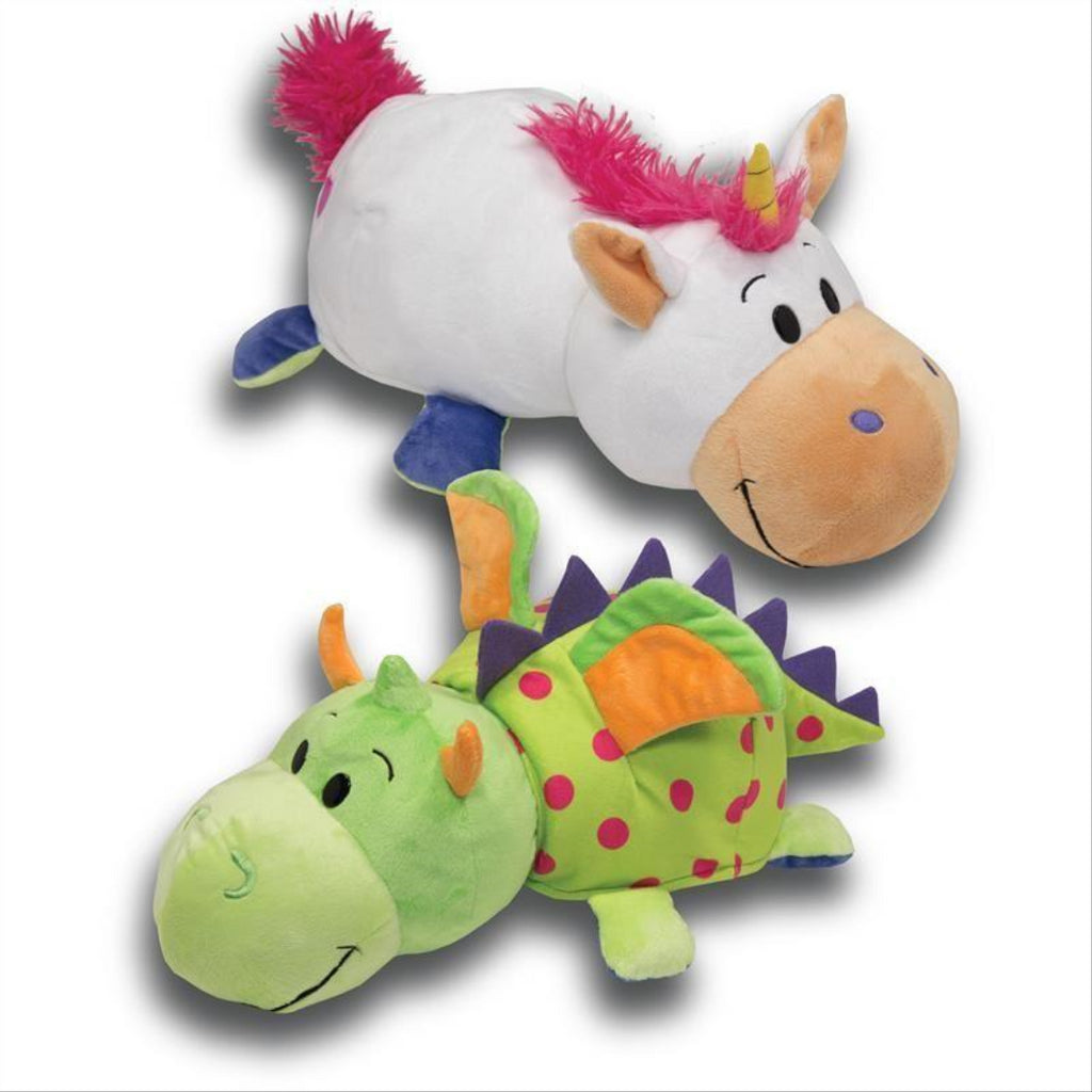 Flip a Zoo White Unicorn/Green Dragon 2 in 1 Soft Plush Toy 020321 - Maqio