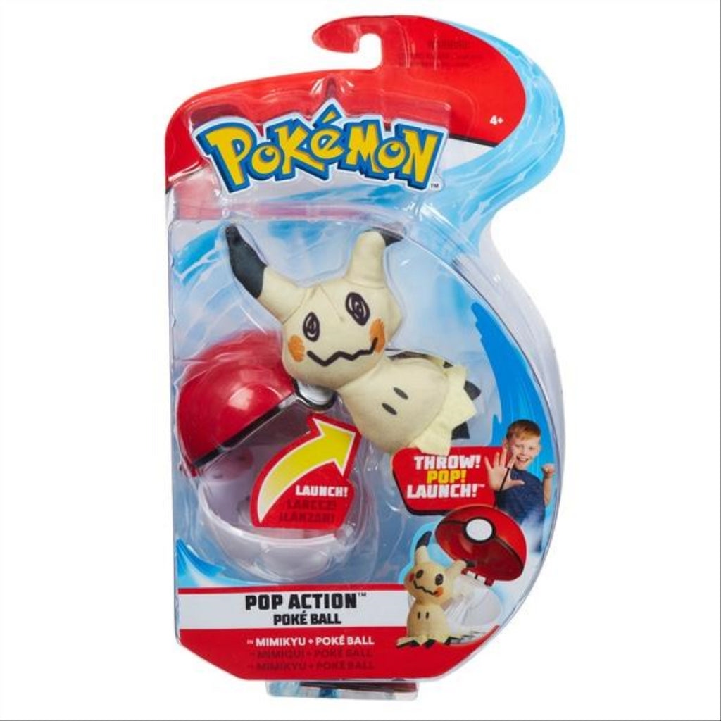 Pokemon Pop Action Poke Ball & Mimikyu Soft Toy - Maqio
