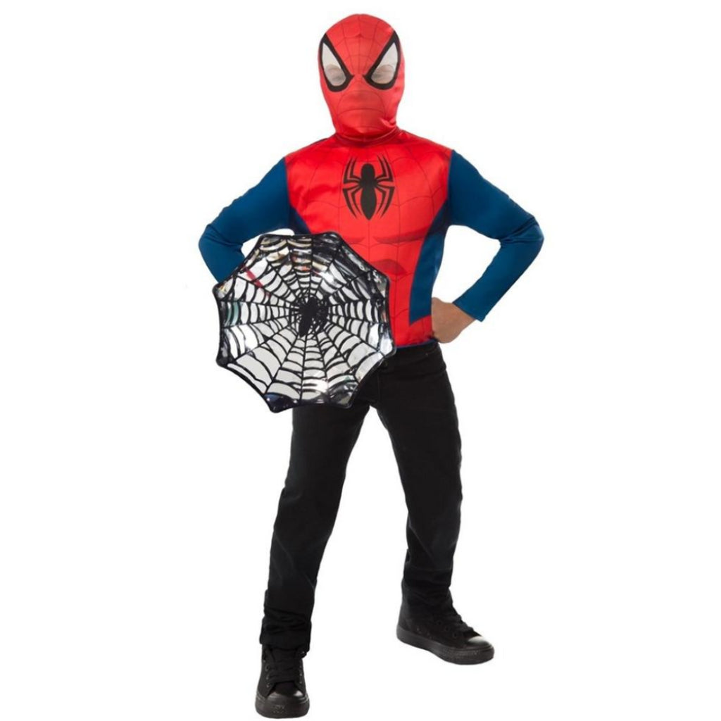 Rubie's 34114 Marvel Spider-Man Super Costume Top Set & Shield (Age 4-6 Years) - Maqio