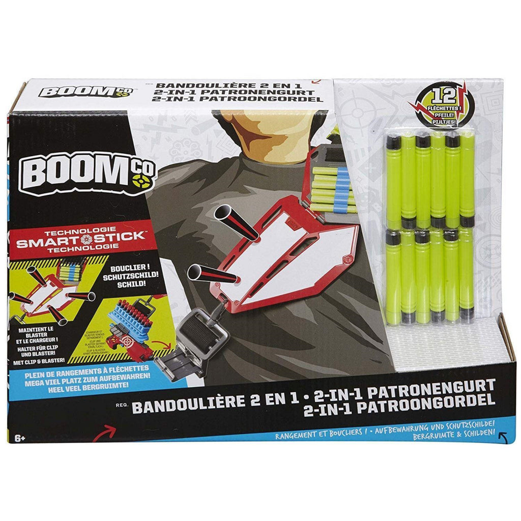 Boomco Toy - 2 in 1 Bandolier - Smart Stick Storage and Shield - Includes 12 Dar - Maqio