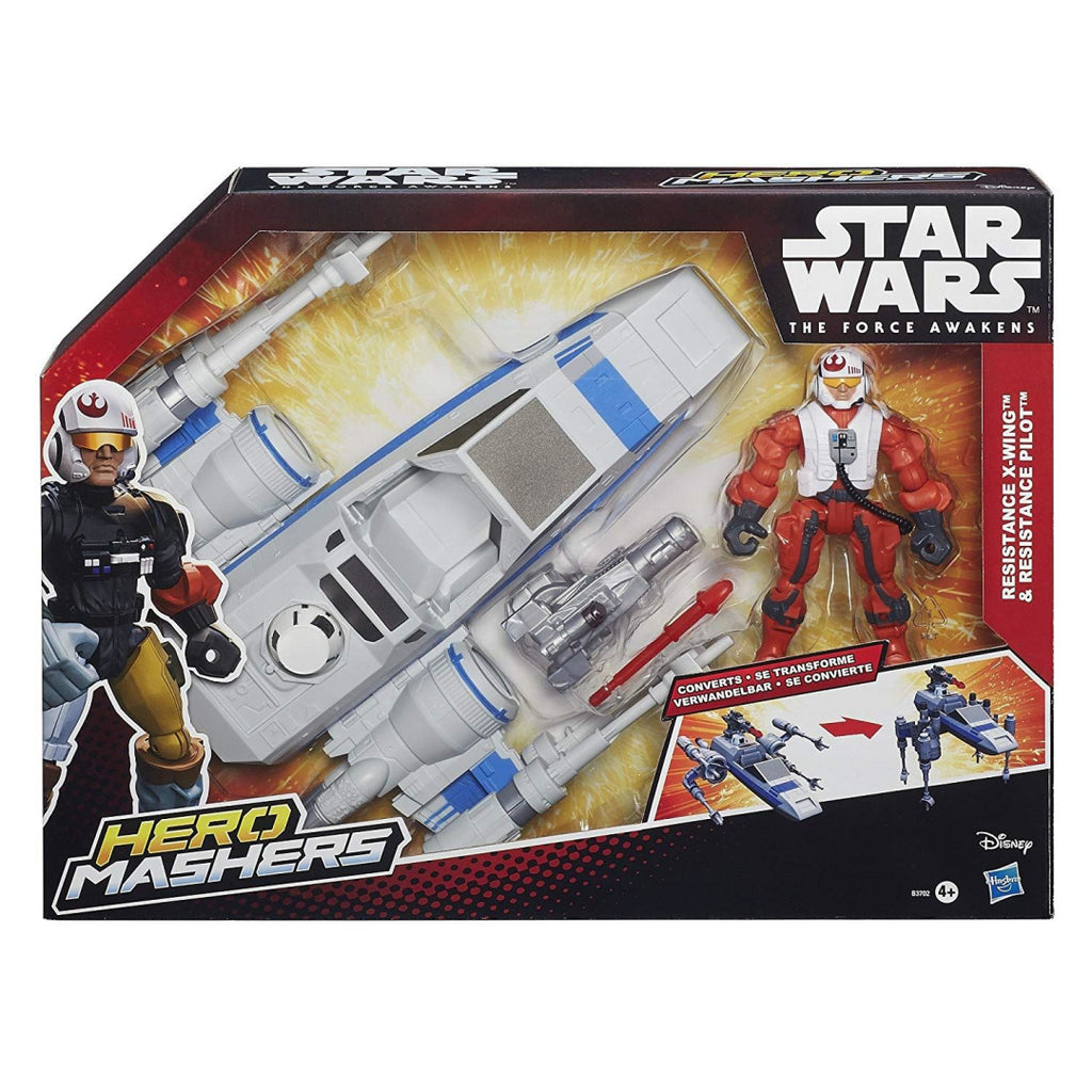 Star Wars B3702 Hero Mashers Episode VII Resistance X-Wing and Pilot Action Toy Playset - Maqio