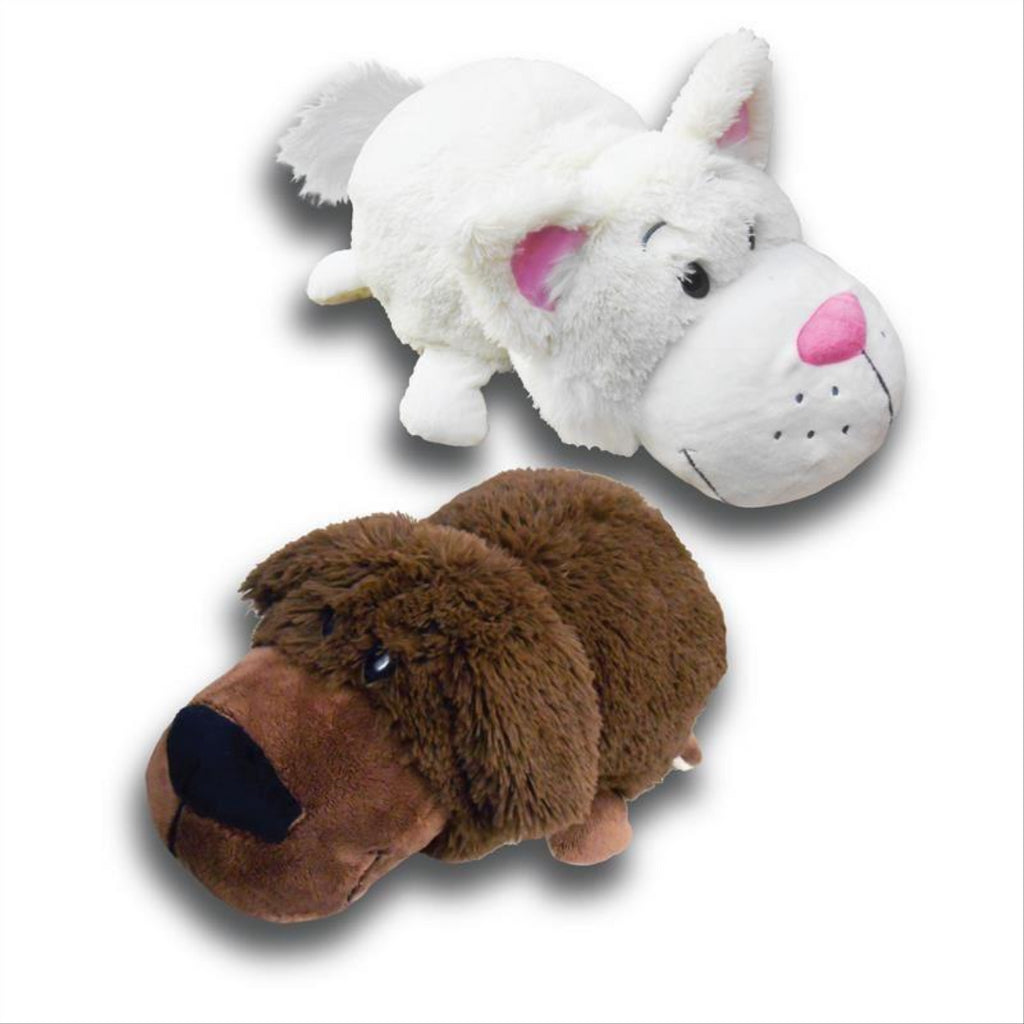 Flip a Zoo Labrador/Cat Soft 2 in 1 Soft Plush Toy 021366 - Maqio