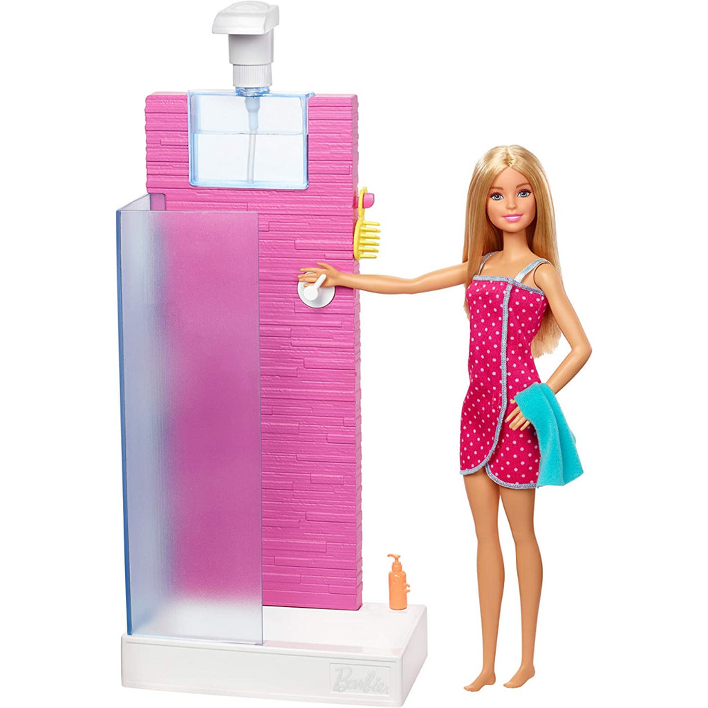 Barbie Doll and Furniture Set - Bathroom with Working Shower FXG51 - Maqio