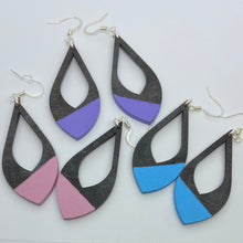 Load image into Gallery viewer, Hand-Stained, Paint-Dipped Wooden Teardrop Earrings