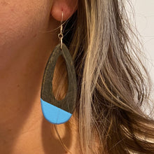 Load image into Gallery viewer, Hand-Stained, Paint-Dipped Wooden Water Drop Earrings